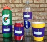 PURPLE H2O ID® Reusable Colorful Water Bottle Bands, Label