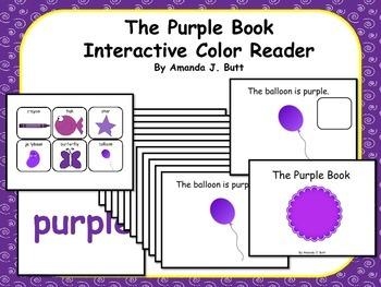 PURPLE Interactive Color Sight Word Reader; Kindergarten; Autism;
