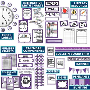PURPLE Classroom Decor EDITABLE