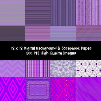 PURPLE PARADISE DIGITAL PAPER- BACKGROUND- SCRAPBOOK