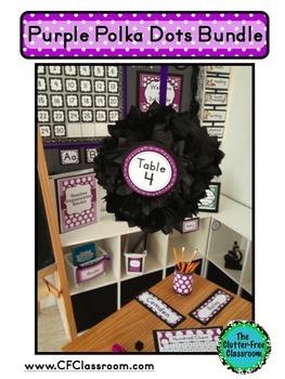PURPLE POLKA DOT Classroom Decor EDITABLE