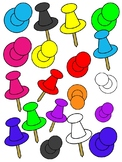 PUSH PINS CLIPART * COLOR AND BLACK AND WHITE