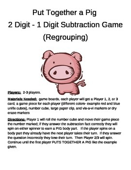 PUT TOGETHER A PIG  2 Digit- 1 Digit Subtraction Game  Regrouping
