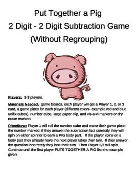 PUT TOGETHER A PIG  2 Digit - 2 Digit Subtraction Without Regrouping Game