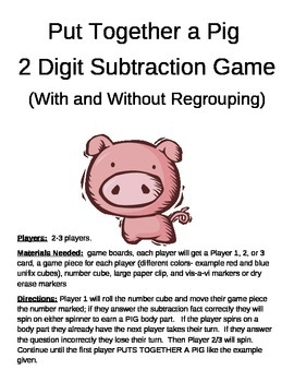 PUT TOGETHER A PIG  2 Digit Subtraction With and Without Regrouping Game
