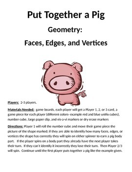 PUT TOGETHER A PIG  Geometry Faces Edges and Vertices Game
