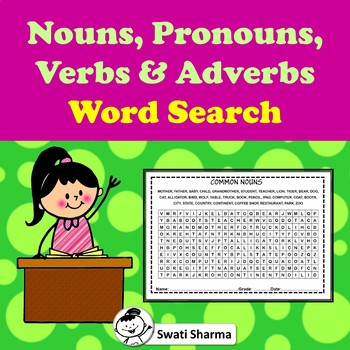 Nouns, Pronouns, Verbs and Adverbs, Word Search