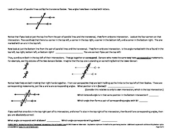 PUZZLE MATH: Angles Formed by a Transversal Intersecting Parallel Lines