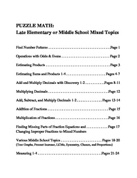 PUZZLE MATH: Mixed Topics for Late Elementary and Middle School Students