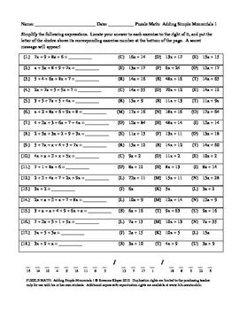 PUZZLE MATH: Simplifying Basic Algebraic Expressions