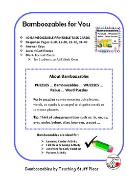 graphic regarding Printable Wuzzles With Answers titled PUZZLES ⭐ Bamboozables WUZZLES Rebus ⭐ Term Puzzles Quality 4-5-6