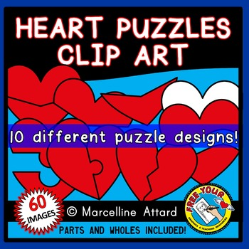 HEART PUZZLES CLIPART:  RED HEARTS CLIPART TEMPLATES: VALENTINE'S DAY CLIPART