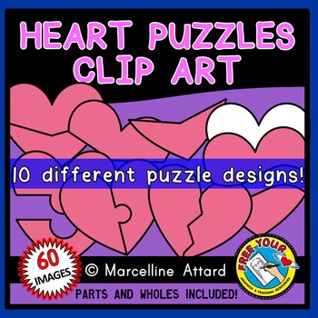 HEART PUZZLES CLIPART: PINK HEARTS CLIPART TEMPLATES: VALENTINE'S DAY CLIPART