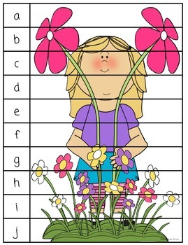 Spring Puzzles for Sight Words, ABC Order and Number Sequencing