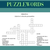PUZZLEWORD Adjectives to describe personnality EFL