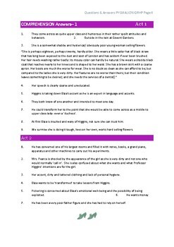 PYGMALION Comprehension Questions & Answers