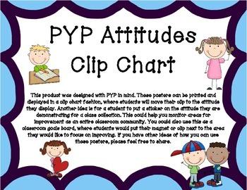PYP Attitudes Clip Chart - Purple/Blue With Clip Art