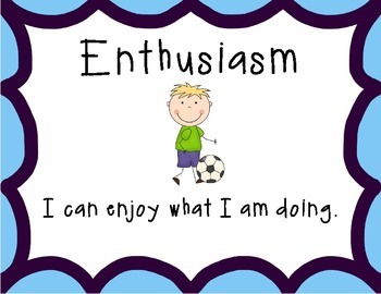 PYP Attitudes Clip Chart - Purple/Blue With Clip Art I Can Statements