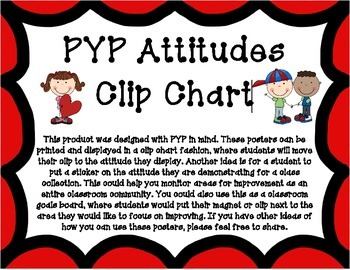 PYP Attitudes Clip Chart - Red With Clip Art