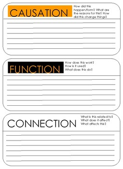 PYP: Causation, Function, Connection labels