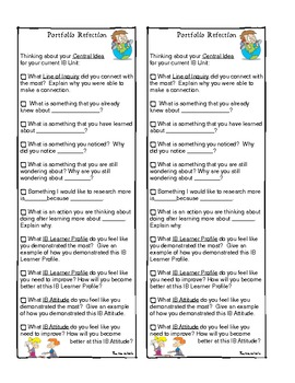 PYP Portfolio Reflection Checklist