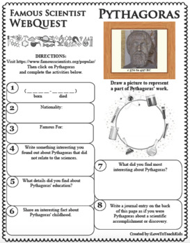 PYTHAGORAS Science WebQuest Scientist Research Project Biography Notes