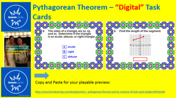 "PYTHAGOREAN THEOREM AND ITS CONVERSE: ""DIGITAL"" BOOM CARDS (32 TASK CARDS)"