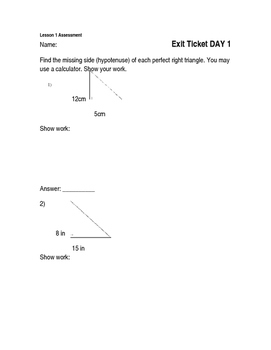 PYTHAGOREAN THEOREM ASSESSMENTS ***editable***