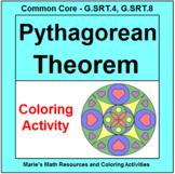 PYTHAGOREAN THEOREM:  COLORING ACTIVITY # 2