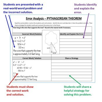 PYTHAGOREAN THEOREM - Error Analysis, Graphic Organizers, Puzzles, Coloring Page