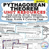 PYTHAGOREAN THEOREM Bundle - Error Analysis, Task Cards, Word Problems, Puzzles