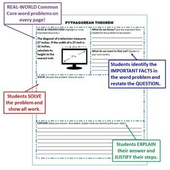 PYTHAGOREAN THEOREM Bundle - Error Analysis, Task Cards, Word Problems, Puzzles