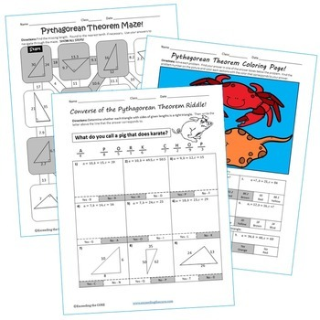 PYTHAGOREAN THEOREM Maze, Riddle, & Color by Number (Fun MATH Activities)