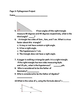 PYTHAGOREAN THEOREM PROJECT GRADES 7-12