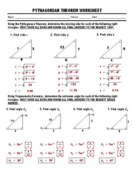 PYTHAGOREAN THEOREM & TRIGONOMETRY REVIEW WORKSHEET | TpT