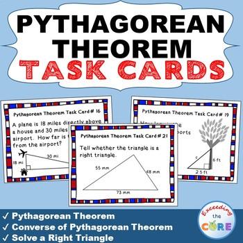 PYTHAGOREAN THEOREM - Task Cards {40 Cards}