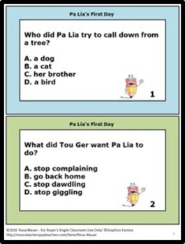 Pa Lia's First Day Questions and Book Extensions