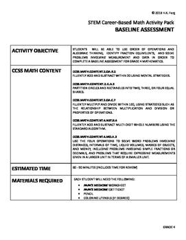 PaPa's Medicine Grade 4 Math Base Assess (STEM & CCSS Aligned)