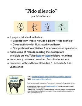 "Pablo Neruda ""Pido silencio"" Cloze Activity - Weather, Seasons, Ordinal Numbers"