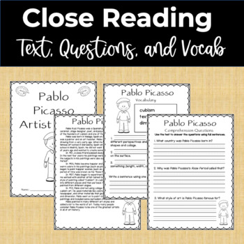 Pablo Picasso Famous Artist Study and Close Reading Packet
