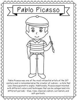 Pablo Picasso, Famous Artist Informational Text Coloring Page Craft or Poster