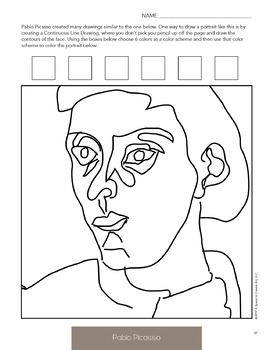 Pablo Picasso Worksheets and Art Activities - No Prep Art History