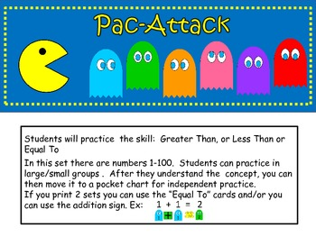 Pac-Attack Comparing Numbers Set