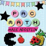 Pac Math - 21 Maze Addition Worksheets