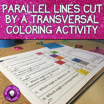 Parallel Lines Cut by a Transversal Color by Number Activity