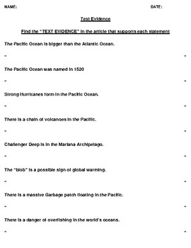 Pacific Ocean Text Evidence and Mapping Worksheet