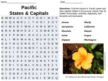 Pacific States Word Search USA Geography