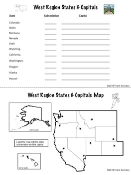 West Region Unit Booklet Worksheets + Rocky Mtn. and Pacific Regions Format