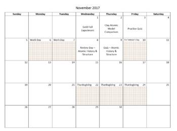 Editable Pacing Calendar 2017-18