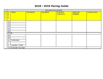 Pacing Calendar Guide 2018-2019